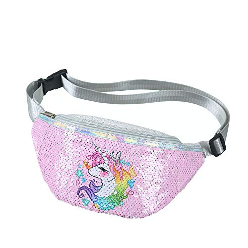 Plage Girl's Unicorn Fanny Polyester Pack - Cute Kids Travel Waist - Crossbody Belt Bag Sport Running Camping Trip - Christmas   Pink