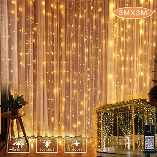 YINUO LIGHT LED Lichterketten Lichtervorhang, 300 LED Vorhanglichter 3M*3M String Light Wasserfest 8 Modi Lichterkette für Deko Innenbeleuchtung Weihnachtsdekorationen Warmweiß [Energieklasse A+++]