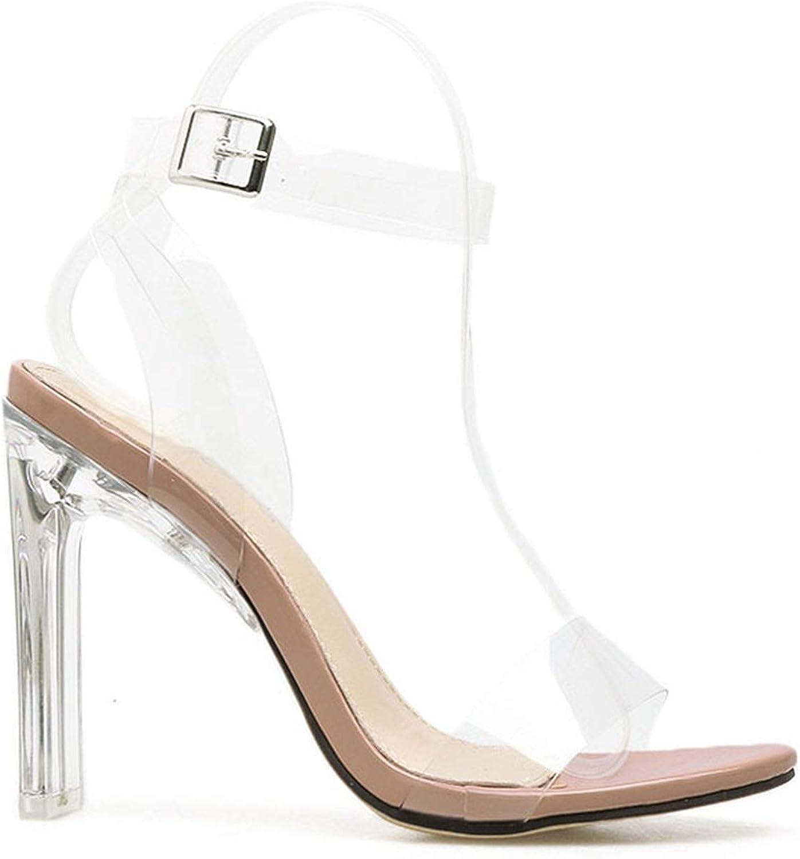 Women Sandals High Heels Summer PVC Buckle Ladies Transparent shoes Thin Heel Sandalie