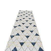 ランナーラグ廊下、三角形幾何学カーペットラグズランナーエリアラグ、機械洗える/吸収性ドアマット、廊下/キッチン/階段用,0.7X4.5M/2.29X14.76ft