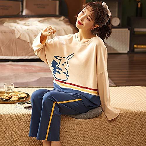 DFDLNL Conjuntos de Pijamas para Amantes, Ropa de Dormir de Invierno y otoño, Traje de Pijama de algodón, Ropa de Dormir para Mujer y Hombre, Ropa de casa XXL para Mujer