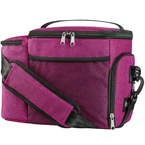 HemingWeigh Reusable Insulated Lunch Box - Durable Lunch Bag Cooler w/Spacious Storage Compartments - Includes 3 Food Storage Containers & Ice Pack (Eggplant)
