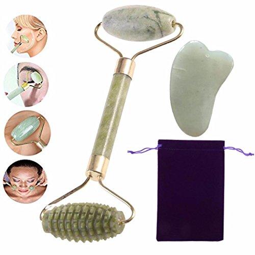 BraveWind Jade-Gesichtsroller, Gua Sha Schaber, Massagegerät, Anti-Aging, Augenroller, Gesichtsmassage-Roller gegen dunkle und geschwollene Augenringe, 2 Stück