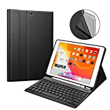 Fintie Keyboard Case for New iPad 7th Gen 10.2 Inch 2019, Soft TPU Back Protective Stand Cover with Built-in Pencil Holder, Magnetically Detachable Wireless Bluetooth Keyboard for iPad 10.2', Black