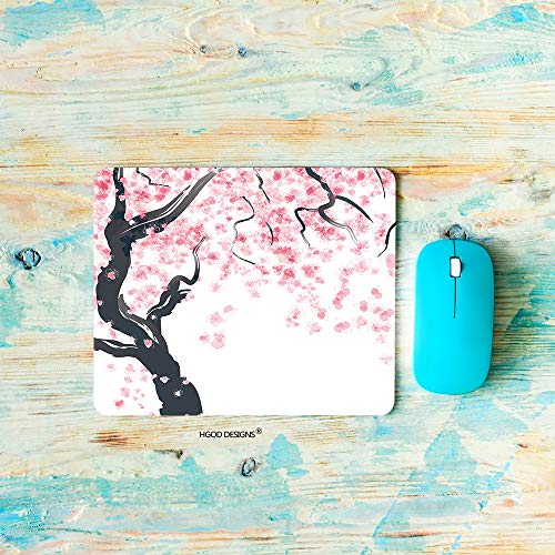 HGOD DESIGNS Gaming Mouse Pad Flower,Japanese Cherry Tree Blossom,Pink Flower Mousepad Rectangle Non-Slip Rubber Mouse Pads(7.9'X9.5')