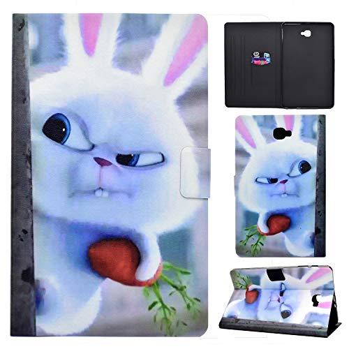 Succtop Cover Samsung Tab A6 Custodia di Pelle PU Flip Portafoglio Stand Custodia di Tablet con Funzione Sleep/Wake Auto per Samsung Galaxy Tab A 2016 10.1 Pollici SM-T580/SM-T585 Coniglio Bianco