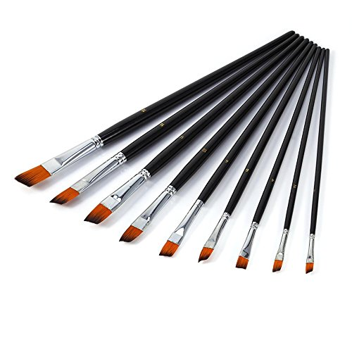 9 Stück Nylon Flachpinsel, Malen Pinsel Set Künstler Pinsel Flach Borstenpinsel, Größe # 0, # 2, # 4, # 6, # 8, # 10, # 12, # 14, # 16