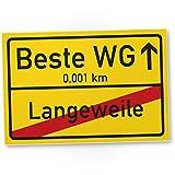 DankeDir! Beste WG Ortsschild - Kunststoff Schild, Süße/persönliche Geschenkidee Einweihungsfeier...