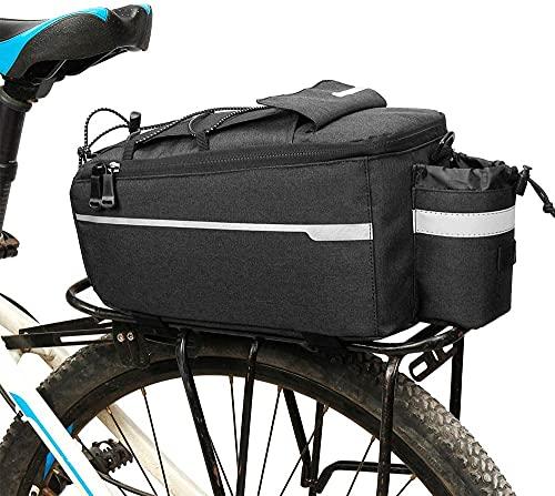 HDONG Bolsa de Bicicleta Convertible y Marco de Equipaje Reflejo de Bolsillo y Caja de Botella-Negro