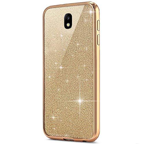 Surakey Cover Compatibile con Samsung Galaxy J5 2017, Custodia Silicone Morbido con Brillantini Glitter Bordo Placcato di Lusso Bling Crystal Clear TPU Protettiva Skin Sottile Cover, Oro