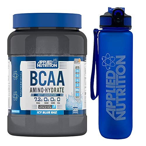 Applied Nutrition Bundle BCAA Amino Hydrate Powder 1.4kg + Lifestyle Water Bottle 1000ml   Branched Chain Amino Acids Supplement, Electrolytes, B Vits, Intra Workout & Recovery Drink (ICY Blue Raz)