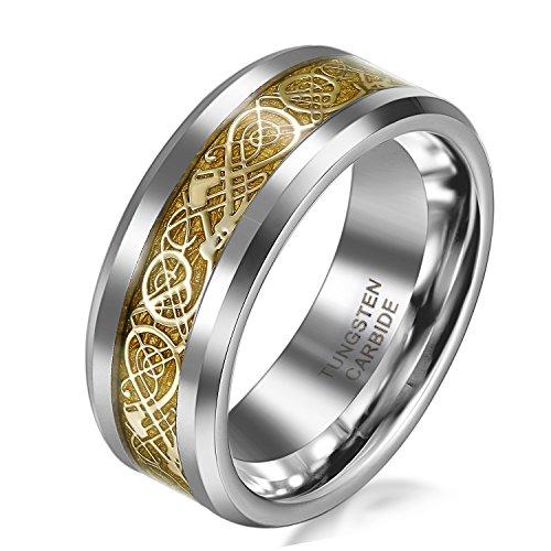 JewelryWe Schmuck 8mm Breite Wolframcarbid Herren-Ring Damen-Ring Hochzeit Band Verlobungsringe mit Gold keltischen Drachen Inlay Größe 65