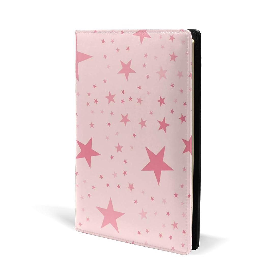 枯れるコンパクト基礎理論ブックカバー a5 星柄 ピンク かわいい 文庫 PUレザー ファイル オフィス用品 読書 文庫判 資料 日記 収納入れ 高級感 耐久性 雑貨 プレゼント 機能性 耐久性 軽量