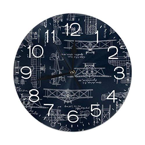 Uosliks Aviation Aviators Transportation Blue Reloj de Pared Silent Non Ticking, Round Easy to Read for Home Office School Clock