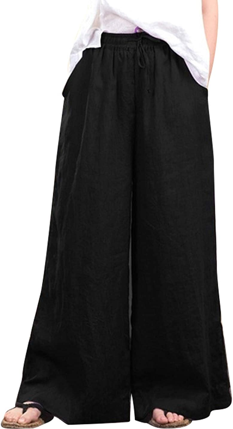 Duberess Women Light Weighted Wide Leg Trousers Casual Elastic Waist Pants