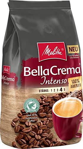 Melitta Ganze Kaffeebohnen, 100 {69190b5496d19aa8b9ea1f6c7bdbbfb9383f93f105b308d8c35db946705c1bac} Arabica, starkes Aroma, intensiver Geschmack, Stärke 4, BellaCrema Intenso, 1 kg