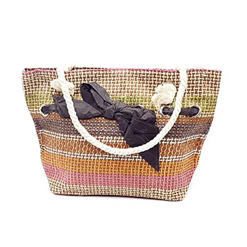 bricoRETTO Bolso de Playa con cremallera, 44x35x16 cm, Asas Cordón de Algodón, Bolsos Bandolera, Shopper, Totes, Informal