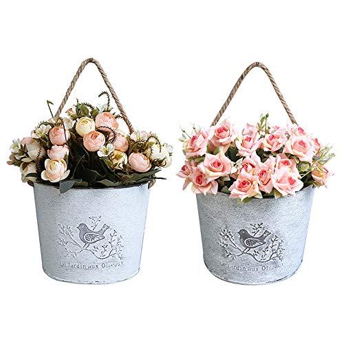 Vasi da fiori in metallo, vasi per piante sospesi Fioriere vintage in ferro Contenitore per piante in vaso da fiori in latta a parete con manici in corda di cotone per giardino interno esterno round