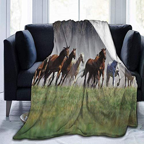 Schoßdecke mit wilden Pferden, kuschelige Thermodecke, kein Ausfallen, Premium-Flanelldecke, luxuriöse Couch-Decke, weiche Sherpa-Decke für Sofa, Bett, Auto, 152 x 157 cm