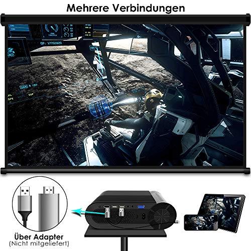 Mini Beamer ELEPHAS, Nativ 720P HD 4500 Lumen Projektor 200″ LED Projektor, für Film Unterhaltung Spiele, unterstützt HDMI VGA AV USB Micro SD, Schwarz. MEHRWEG - 6