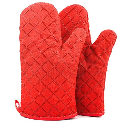 ATUIO - Guantes de Horno, [1 Par], Guantes de Horno Resistentes al Calor, Manopla Horno Antideslizante Resistentes, Guantes de Cocina para [Cocinar] [Hornear] [Asar], Guantes Profesionales [Rojo]