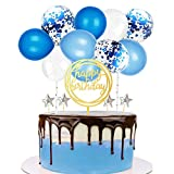 Balloon Cake topper, Mini garland Cake Decoration for Happy Birthday Party , Bridal Shower, Baby Shower, Kids Party Supplies (Blue)