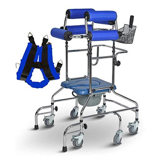 RVTYR Stehen Roll Walker, Leicht Einstellbare Höhe Assisted Walking mit WC-Funktion, for Behinderte/Ältere Stroke Hemiplegischen Rehabilitation Handicap Lower Limb Trainer gehbock mit räder