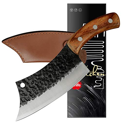 XYJ Tactical Kitchen Knife 62 Inch Cleaver Chef Knives With Carrying Leather Knife Sheath Full Tang 4Cr13 Stainless Steel Slicing Cutting Butcher Knives For Meat Vegetable Cooking Tool