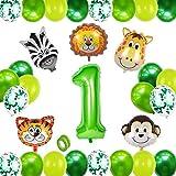 HIQE-FL Globo 1 Año Verde,Selva Fiesta de Cumpleaños Decoracion,Globos Grandes de Cumpleaños,Globo Numero 1,1 Globo Cumpleaños,Decoracion Cumpleaños Niño 1 Años