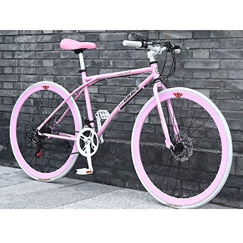 LWJPP Las Bicicletas de 26 Pulgadas de Aluminio 24 Velocidad Bicicleta de Carretera Bicicletas Frenos de Disco Doble Bicicletas Carreras por Carretera Bicyc Bici de BMX for la Mujer