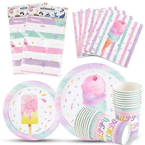 WERNNSAI Eis Partyzubehör Set - Eis und Eis am Stiel Party Geschirr für Mädchen Geburtstag Baby Shower Tischdecke Teller Tassen Servietten für 16 Gäste 66 PCS