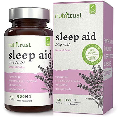 Schlafhilfe 600 mg Kapseln von Nutritrust® - pflanzliche & natürliche Beruhigungsrezeptur mit Tryptophan, Kamille und weiteren natürlichen Zutaten - unterstützt & fördert den gesunden Schlaf