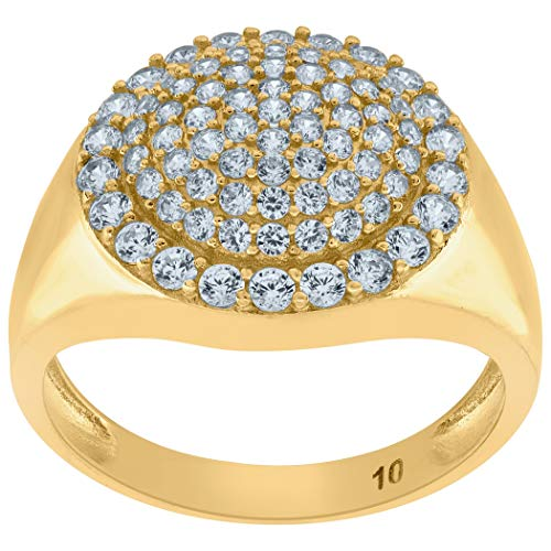 10k Yellow Gold Mens Round CZ Cubic Zirconia Simulated Diamond Engagement Ring Measures 15.2x3.7mm Wide Size T 1/2 Jewelry Gifts for Men - Higher Gold Grade Than 9ct Gold