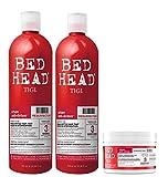 Kit TIGI Bed Head, 1 Shampoo Resurrection, 1 Conditioner Resurrection & 1 Maschera Ristrutturante per Capelli Danneggiati che Ripara la Superficie Esterna del Capello