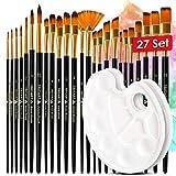 Tritart - Pinceles para Pintura - Set de 25 Piezas de Pinceles de Nylon para Acuarela, Acrílica, Gouache, Oleo - Incluye 2 Paletas de Mezcla - Para Artistas Profesionales y Aficionados