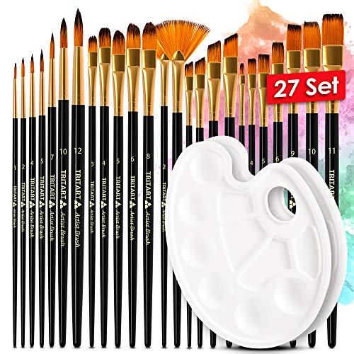 Tritart 25 pennelli acrilici di alta qualità, pennello per acquerello, pennello per gouache, pennello per pittura ad olio, ecc. Set di 2 palette miste, pennelli sintetici