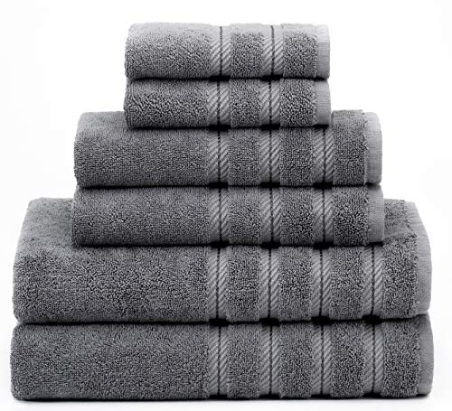 American Soft Linen 6-Piece 100% Turkish Genuine Cotton Premium & Luxury Towel Set for Bathroom & Kitchen, 2 Bath Towels, 2 Hand Towels & 2 Washcloths [Worth $72.95] - Grey