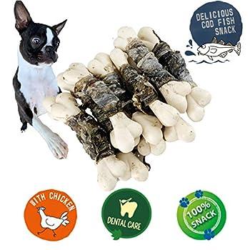 AVANZONA Friandises pour Chiens, Snacks Naturelles à mâcher de Longue durée, Peau de morue séchée à l'os, Entraînement Dentaire, Riche en Calcium et Omega -3, sans Grain. 100G.
