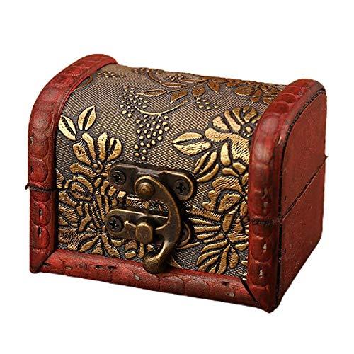 Joyero vintage hecho a mano caja de almacenamiento de madera con cerradura de metal para pendientes, collar, naranja antiguo decorativo