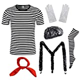 Womens Mime Artist Costume Set Black & White Silent Actor Dress Halloween Outfit (Small, Stripe)