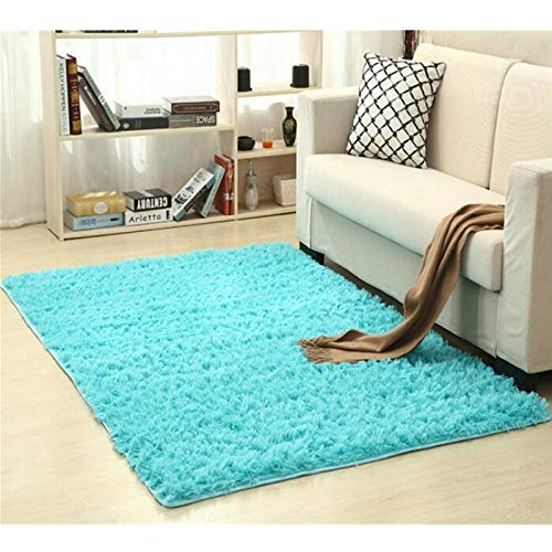 Alfombra Shaggy Calentar Felpa alfombras Alfombras for los niños de la Sala Mullido Inicio Faux Área Manta de la Piel Sedosa Mats Alfombras (Color : Sky Blue, Size : 140x200cm)