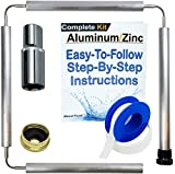 About Fluid Aluminum/Zinc Flexible Anode Rod Complete Kit For Water Heaters | 44' Long | Get Rid Of Rotten Egg Smelling Hot Water! | Full-Roll Teflon Tape | 1-1/16' Socket Included (Complete Kit) |