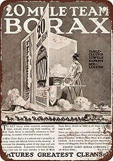 Tennskylt 20 x 30 cm 1923 20 Mule Team Borax Tvättmedel Vintage Look Reproduktion Metall Tenn Skylt