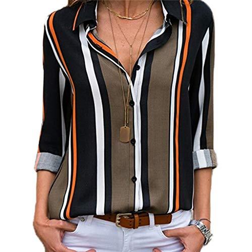 Chemise Femme Manche Longue Élégant Mousseline de Soie Blouse Rayé Chemisier Grande Taille Casual Classique Chic Boutonné Cov V Tunique Tee Tops Hauts T-Shirts (D-Vert, L)