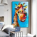 Geiqianjiumai Divertido Animal Acuarela Jirafa Pintura al óleo sobre Lienzo Arte Carteles e Impresiones imágenes de Dibujos Animados decoración de la habitación de los niños Pintura sin Marco 30X55cm