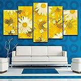 100×55cm Quadro su Tela Decorazioni per la casa Quadro 5 Pezzi Fiori Gialli e Bianchi Dipinti per Soggiorno Stampa HD Poster modulari