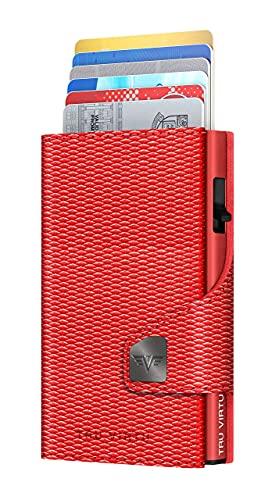 TRU VIRTU® Karten-Portemonnaie Click & Slide Rugged Red/ Red I Kreditkartenetui I Kartenetui-RFID-NFC-Schutz I Geldbörse aus echtem italienischen Leder I Geldbeutel I Slim Wallet