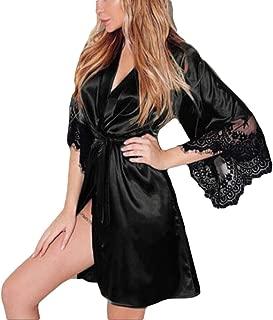 iTLOTL Women Sexy Silk Kimono Dressing Babydoll Lace Lingerie Belt Bath Robe Nightwear