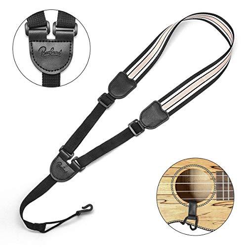 Clip On Ukulele Strap,Adjustable J Hook Neck Strap in Various Length & Ukulele Strap no Drilling for Soprano Concert Tenor Ukulele (Champagne/White)