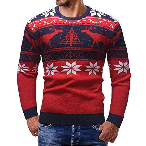 iHENGH Hommes Automne Hiver Pull tricoté Top Pull de Noël Pull Outwear Blouse(FR-54/CN-L,Rouge)